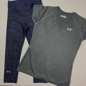 Under armour leggings shirt outfit xs bundle